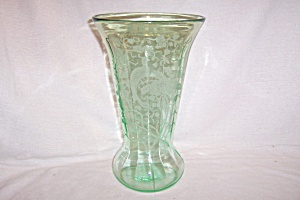 "GREEN PEACOCK & ROSE 12"" FLARED VASE (Image1)"