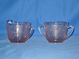 Pink Dogwood Thin Style Cream & Sugar Set