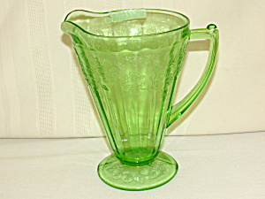 Green Cherry Blossom Cone Footed Pitcher