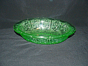 Green Cherry Blossom Oval Vegetable Bowl