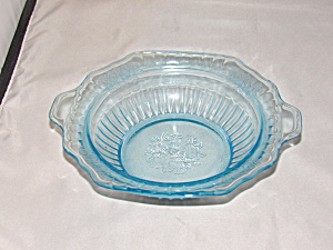 "Blue Mayfair Depression Glass 7"" Vegetable Bo"