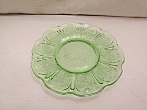 GREEN CHERRY BLOSSOM DEPRESSION SHERBET PLATE (Image1)