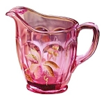 Click here to enlarge image and see more about item 4264P6: Meadow Berry on Madras Pink Paneled Pitcher
