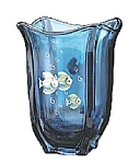 Click here to enlarge image and see more about item 81553U: 7 1/2'' Indigo Blue Handpainted Square Vase