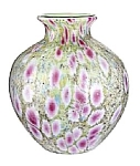 Click here to enlarge image and see more about item 996437: Monet's Garden Frit Covered Milk Glass Vas
