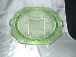 Click here to enlarge image and see more about item C3349: GREEN PRINCESS FOOTED CAKE PLATE