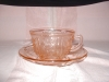 Click here to enlarge image and see more about item C3455: PINK SHARON CABBAGE ROSE CUP & SAUCER