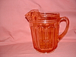 Click here to enlarge image and see more about item CA3079: PINK COLONIAL KNIFE & FORK ICE LIP PITCHER