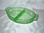 Click here to enlarge image and see more about item CA3120: GREEN FLORAL POINSETTIA DIVIDED RELISH DISH
