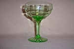 Click here to enlarge image and see more about item CA3246: GREEN BLOCK OPTIC STEMMED SHERBET / CHAMPAGNE