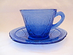 Click here to enlarge image and see more about item CABR916: COBALT ROYAL LACE CUP & SAUCER
