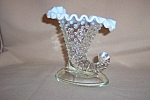 Click here to enlarge image and see more about item CM3094: FENTON FRENCH OPALESCENT HOBNAIL CORNUCOPIA C