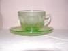 Click here to enlarge image and see more about item CPS106: GREEN GEORGIAN LOVEBIRDS CUP & SAUCER SET