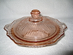 Click here to enlarge image and see more about item CV012: PINK MAYFAIR COVERED BUTTER DISH