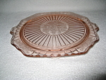 Click here to enlarge image and see more about item CV013: PINK MAYFAIR DEPRESSION FOOTED CAKE PLATE
