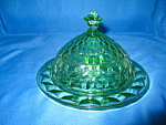 Click here to enlarge image and see more about item CV037: GREEN CUBE COVERED BUTTER DISH
