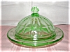 Click here to enlarge image and see more about item G172: GREEN COLONIAL BLOCK COVERED BUTTER DISH