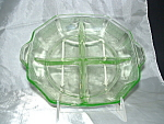 Click here to enlarge image and see more about item G529: GREEN PRINCESS DEPRESSION DIVIDED RELISH DISH
