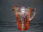 Click here to enlarge image and see more about item G647: PINK CHERRY BLOSSOM FLAT PITCHER