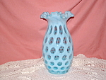 Click here to enlarge image and see more about item GM190: FENTON BLUE OPALESCENT COIN DOT VASE