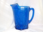Click here to enlarge image and see more about item GR133: COBALT ROYAL LACE STRAIGHT SIDED PITCHER