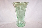 Click here to enlarge image and see more about item GR227: GREEN PEACOCK & ROSE 12� FLARED VASE