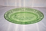 Click here to enlarge image and see more about item GR514: GREEN SHARON CABBAGE ROSE OVAL PLATTER