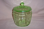 Click here to enlarge image and see more about item GR290: GREEN PRINCESS COVERED COOKIE JAR