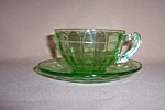 Click here to enlarge image and see more about item GR311: GREEN BLOCK OPTIC CUP & SAUCER SET