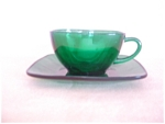 Click here to enlarge image and see more about item TC3081: FIRE-KING FOREST GREEN CHARM CUP & SAUCER