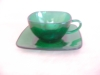 Click to view larger image of FIRE-KING FOREST GREEN CHARM CUP & SAUCER (Image2)