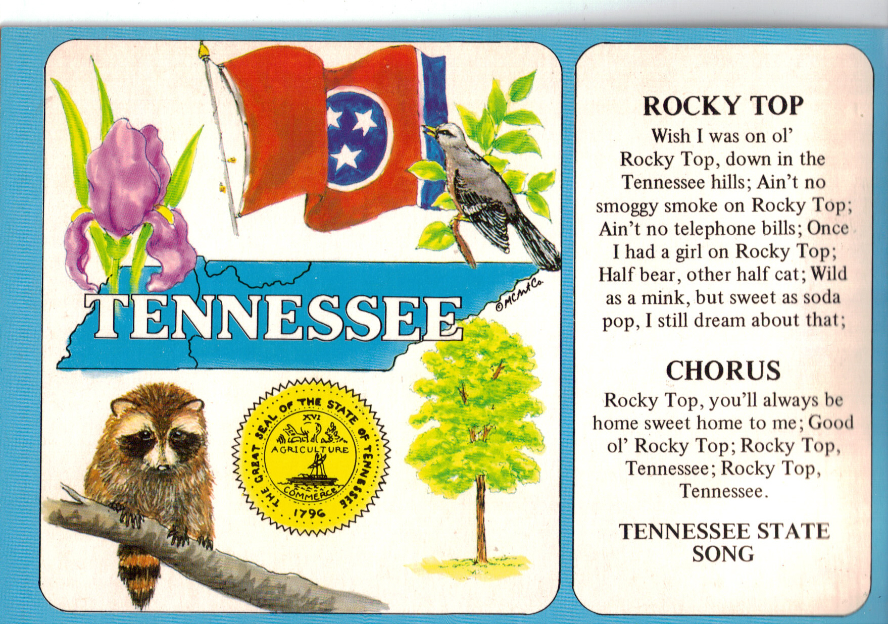 Tennessee state symbols and state song cs6785 paper and ephemera tennessee state symbols and state song cs6785 paper and ephemera postcards regional us state flags at tymes remembered buycottarizona Images