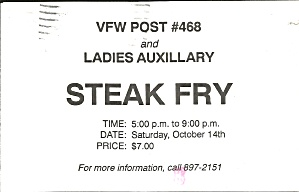 Advertising Postcard Vfw Post 468 Steak Fry P37175