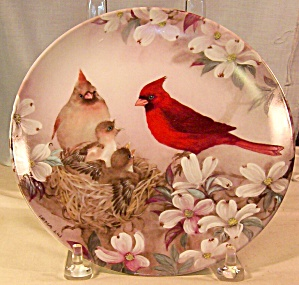 Morning Serenade -cardinal Plate By Lena Liu Plate