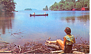 Canoeing,lake Winnipesaukee,nh Postcard