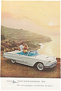 1959 Thunderbird Convertible Ad In Color