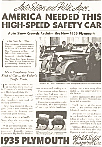 Plymouth Auto Show Ad 1935