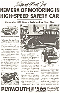 Plymouth High Speed Safety Car Ad 1935 (Image1)