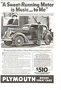Plymouth Sweet Running Motor Ad 1936