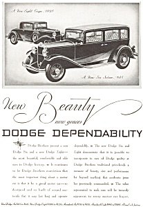 1931 Dodge 8 Coupe and Sedan 6  Ad (Image1)