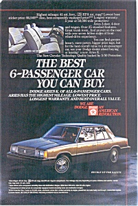 Dodge Aries K Advertisement (Image1)