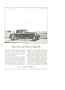 Lincoln V 8 Two Passenger Coupe Advertisement ad0112 1932 (Image1)
