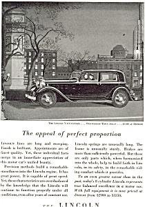 Lincoln V 8 Two Window Town Sedan Advertisement ad0113 1932 (Image1)