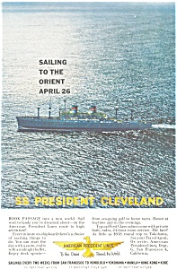 SS President Cleveland Orient Sailing Ad ad0202 (Image1)