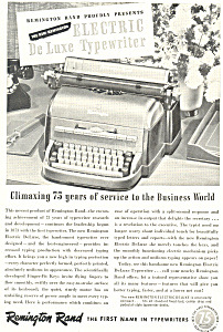 Remington Rand Electric De Luxe Typewriter Ad (Image1)
