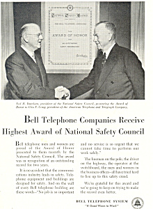 Bell Telephone Safety Coucil Award Ad Ad0430