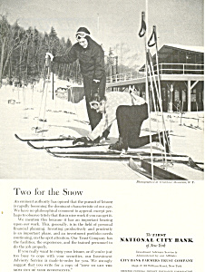 First National City Bank Skiing  Ad ad0434 (Image1)