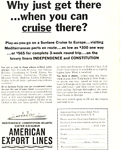 American Export Lines Sunlane Cruise Ad (Image1)