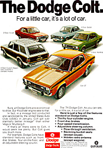 1974 Dodge Colt Full Ilne Ad