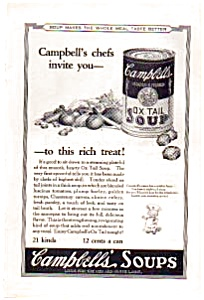 Campbell's Ox Tail Soup Ad 1923